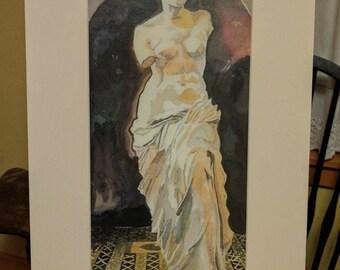 Venus de Milo Watercolor Print Valentine's Gift for her Matted Print Romantic decor Venus statue Valentine present Cottage chic wall art
