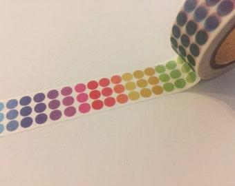 """Rainbow dot washi tape sample 18"""""""