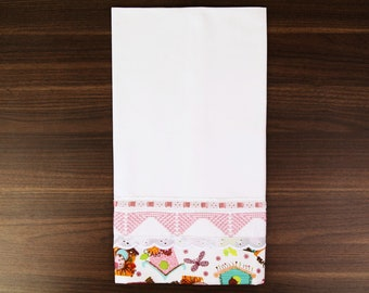 Pink Hand Embroidered Tea Towel - Swedish Weaving - UK Stock