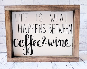 Coffee and Wine Wood Framed Sign