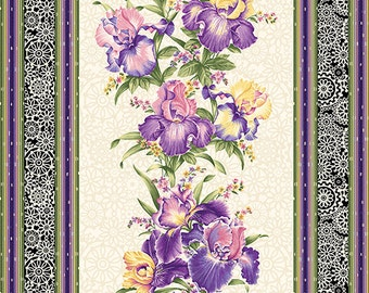 Fabric, cotton fabric, Irresistible Iris Stripe Cream Multi, Irresistible Iris Collection, Ann Lauer, Benartex Fabrics