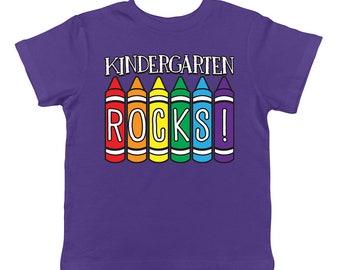 Kindergarten Rocks Back To School Crayon Set Learning Fun Ideas Creative Student Infant T-Shirt KID-0028