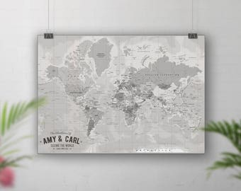 Places weve been map our travels map world travel map vintage world map travel map push pin places weve been map gumiabroncs Images