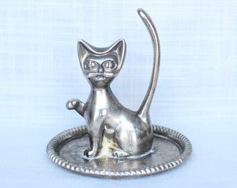Cat Ring Holder, Silver Plated Engraved Jewelry Tray Dish, Vanity Kitten Ring Holder, Cat Figurine, Vintage Cat Ring Dish Holder