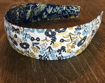 Comfortable Headband-- Washable, Reversible Rifle Paper Company Floral/ menagerie metalic in natural