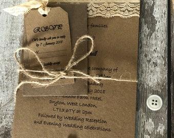 Wedding invitation set rustic wedding invites wedding invitations rustic with envelopes and twine