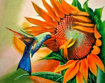 Sunflower, Acrylic painting, canvas panel
