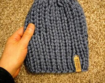 Slouchy Toddler Knit Beanie / Denim Blue Hand Knitted Toque / Warm Winter Hat / Pom Pom Hat / Newborn / Infant / Toddler / Child