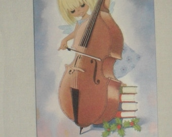 1970s Vintage Christmas Card Christmas Bo Peep by Gluck Cello Musical Theme