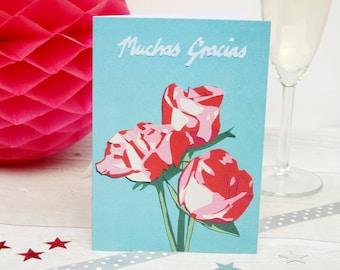 Muchas Gracias Thank You Card - Spanish Teacher Cards - Spanish Thankyou Card - Mexican Pink Roses Flower Bouquet - Gift For Teacher