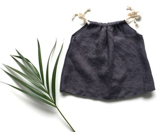 Baby girl linen top 0-3m SALE baby linen clothes, charcoal top, pillowcase top, baby girl summer clothes, baby girl linen clothes
