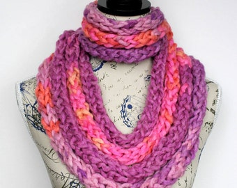 Pink Knit Infinity Scarf Women Chain Scarf Chunky Scarf Necklace for Women Pink Knit Scarves With Button Pink Purple Scarf Mothers Day Gift