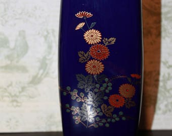 Medium Blue Cobalt Japanese Vase 6 1/4""