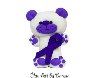 Purple Ribbon Aware Bear - polymer clay figurine