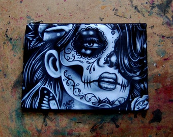 Cosmetic Bag Case | Epiphany by Carissa Rose | Day of the Dead Sugar Skull Girl | Punk Rock Gothic Lowbrow Tattoo Art