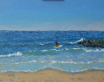 "One With The Wave, acrylics on canvas panel, 12""x16"", original, plein air, signed"