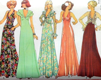 Vintage  Gown Sewing Pattern Simplicity 7229 Size 10 flutter sleeve