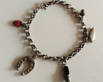 Vintage silver charm bracelet with 5 charms