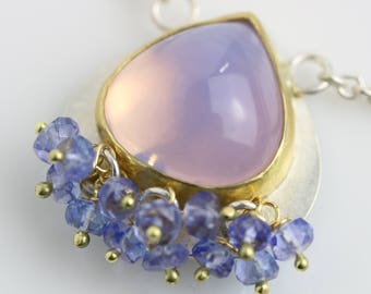Lavender Quartz Necklace with Tanzanite Clusters. 22k Gold, 18k Gold and Argentium Sterling Silver.