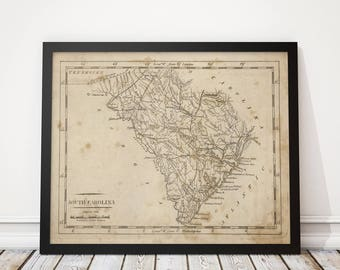 South Carolina Map, Antique Map Art Print, 1816, Archival Reproduction