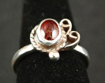 Garnet and Sterling Silver Ring Size 8 3/4