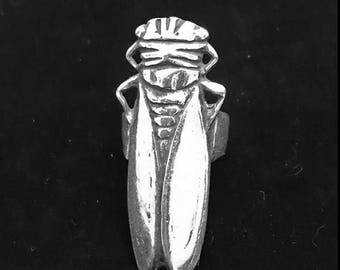 Long, silver plated bronze cicada ring size 8, usually running small - insect - beetle - large insect ring -  cicada