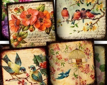 Flora and Fauna collage sheet in 2 inch squares -- piddix 720