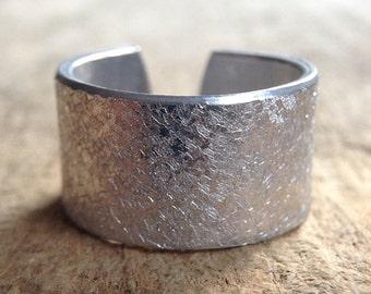 Men's Ring, Aluminum Ring, Rustic Ring, Distressed Ring, Textured Ring, Cuff Ring, Organic Ring, Adjustable Ring, Men's Gift, Bohemian Ring