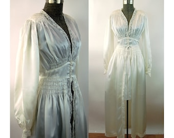 1940s peignoir robe house dressing gown white satin and lacefly away front Size XS