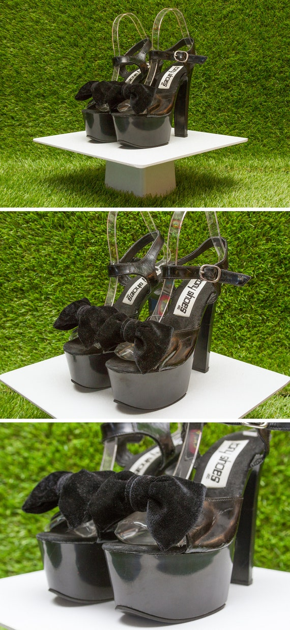 Velvet Open Jane Vintage Tony PVC Faux Thick Heel Platform Patent Shoes Sandals High Mary Chunky Shiny Leather Black 7 90s Shoes Bow Toe 88rqRn7O