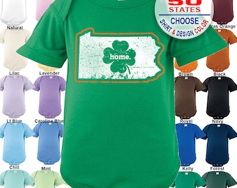 Pennsylvania Home State Irish Shamrock Bodysuit / Boys / Girls / Irish / St. Patty's Day