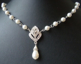 Art Deco Bridal Necklace, Pearl Wedding Necklace, Art Deco Bridal Jewelry, Vintage Wedding Jewelry, IVANA