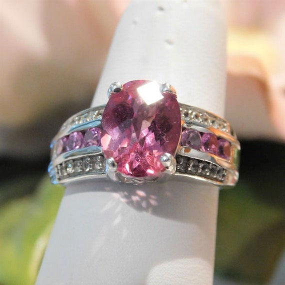 3.25 Ct Pink Mystic Topaz Ring / Pink Sapphire / Size 6 / Sterling Silver / Engagement / Wedding