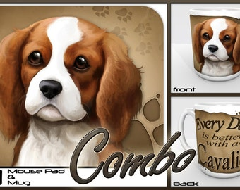 """Cavalier King Charles Spaniel """"for Dog Lovers Only"""" Mouse Pad and Mug Combo Set"""