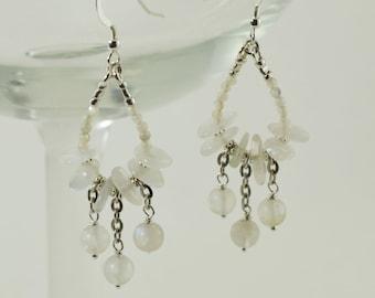 Moonstone Hoop and Dangle Sterling Silver Earrings
