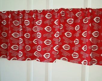 Cincinatti reds baseball curtain valance