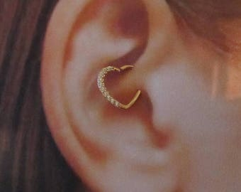 14k Rose Gold Daith Piercing Multi cz Bendable Heart Ring..16g..Solid Gold (Right Ear)