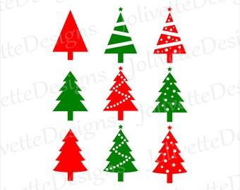 Christmas Trees, Tree, Ornaments, Lights, Clip Art, Clipart, Design, Svg Files, Png Files, Eps, Dxf, Pdf, Silhouette Files, Cricut File, Cut
