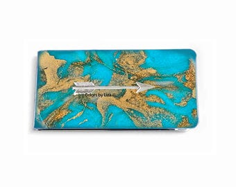 Arrow Money Clip inlaid in Hand Painted Enamel Turquoise Quartz Inspired with Personalized and Assorted Color Options