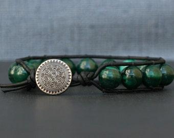 natural malachite bracelet on black leather - bohemian stacking bangle bracelet - mens or womens - gypsy boho jewlery