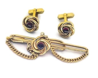 Swank Gold Tone Ruby Stone Cuff Links and Tie Bar Set