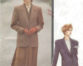 80s Womens Classic Lined Below Hip Jacket or Blazer Two Buttons Vogue Sewing Pattern 7594 Size 12 14 16 Bust 34 36 38 FF Vogue Classics
