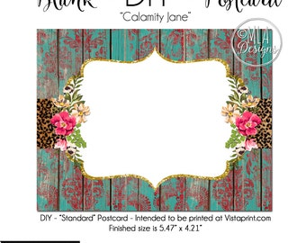 DIY Vistaprint Standard Size Postcard, Calamity Jane, Blank Template Instant Download - Notecard Inviation, Stationary, Party Invite