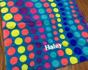 Dots Personalized Beach Towel Bridesmaid Gifts Graduation Gift Dorm Towel Adult Beach Towel Wedding Gift Party Favor Birthday Gift