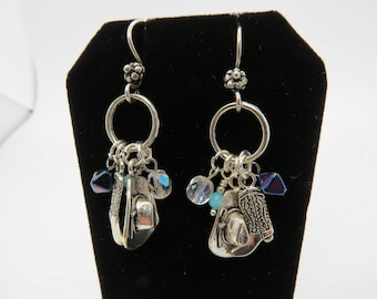 Silver and Turquoise Cowgirl Western Earrings