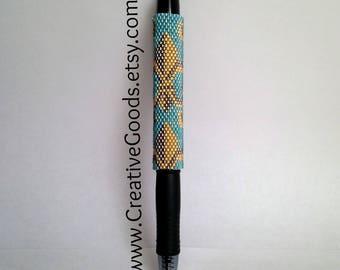 Pen Cover Pattern - Fleur De Lis - Peyote Pattern