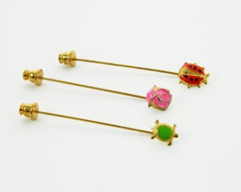 Ladybug Pin, Rose Pin and Turtle Pin - Stickpin Trio