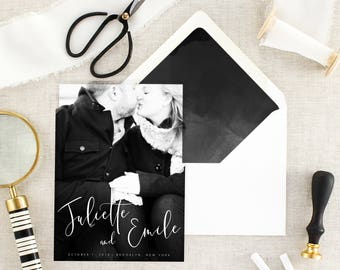 Modern Save the Date with Photo - Calligraphy Save the Date for Wedding - Black and White Save the Date - Printed Save the Date - Set of 10