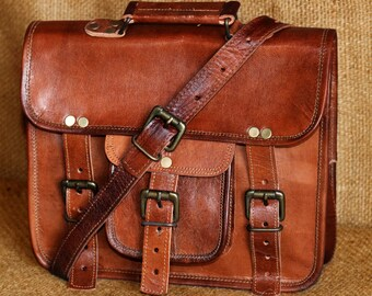 """Organic Handmade 11"""" leather messenger bag for men & women office briefcase bag gift for men genuine leather vintage messenger laptop bag"""