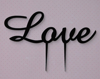 Love Wedding Cake Topper, wedding, engagement, anniversary, Valentines. Made in your choice of colour, Acrylic, Lasercut